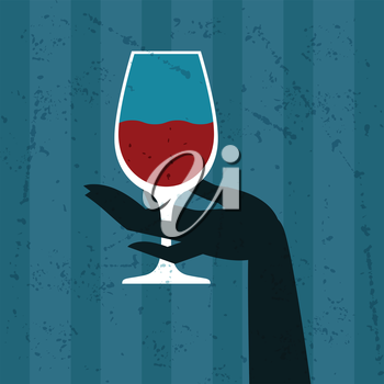 Illustration with glass of wine and hand.