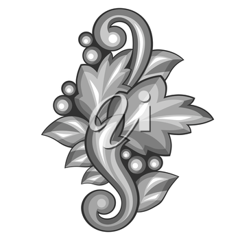 Baroque ornamental antique silver element on white background.