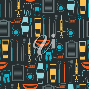 Medical seamless pattern with dental equipment icons.