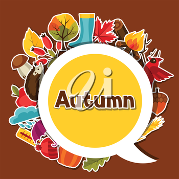 Background design with autumn sticker icons and objects.