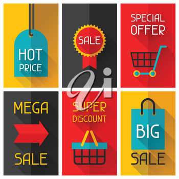 Sale and shopping advertising posters in flat design style.