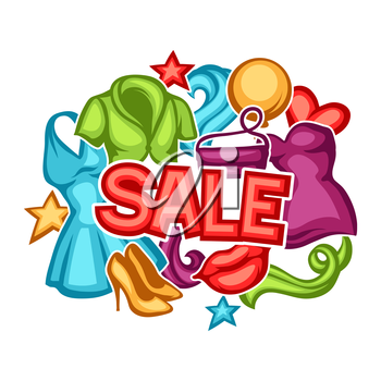 Sale background with female clothing and accessories.