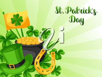 Saint Patricks Day greeting card. Flag, pot of gold coins, shamrocks, green hat and horseshoe.