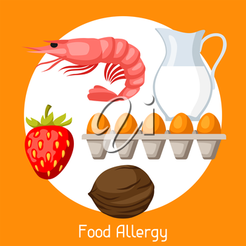 Food allergy. Vector illustration for medical websites advertising medications.
