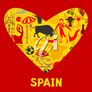 Spain background in shape of heart. Spanish traditional symbols and objects.