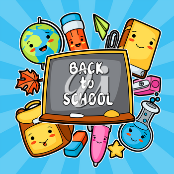 Back to school. Kawaii design with cute education supplies.