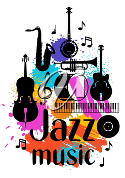 Jazz music grunge poster with musical instruments.