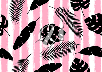 Seamless pattern with tropical palm leaves. Exotic tropical plants. Illustration of jungle nature.