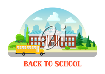 Illustration of school building and bus. City landscape with houses, trees and clouds.