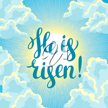 He is risen. Happy Easter concept illustration or greeting card. Religious symbol of faith against cloudy sunrise sky.