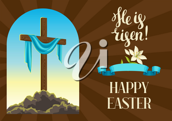 Silhouette of wooden cross with shroud. Happy Easter concept illustration or greeting card. Religious symbol of faith against sunrise sky.