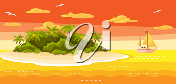 Illustration of tropical island in ocean. Landscape with ocean, palm trees and yacht. Travel background.