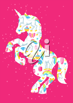 Silhouette of unicorn with fantasy items and objects.