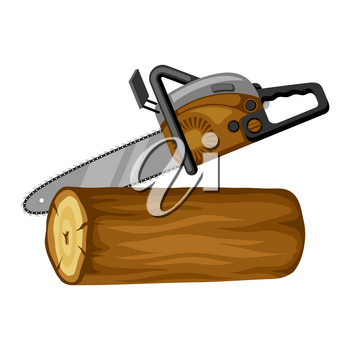 Gasoline saw and wood log. Illustration for forestry and lumber industry.