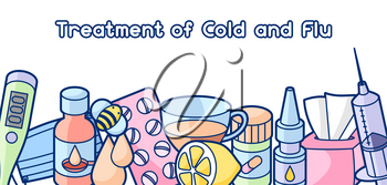 Banner with medicines and medical objects. Treatment of cold and flu.