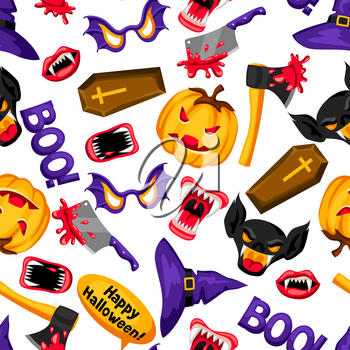Happy Halloween seamless pattern with cartoon holiday symbols.