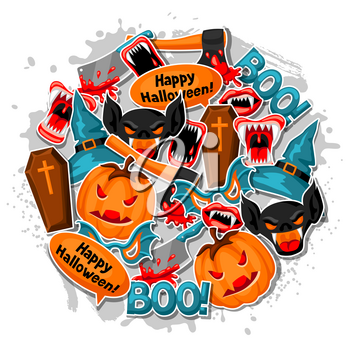 Happy Halloween background with cartoon holiday sticker symbols. Invitation to party or greeting card.