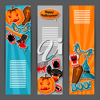 Happy Halloween banners with cartoon holiday sticker symbols. Invitation to party or greeting card.