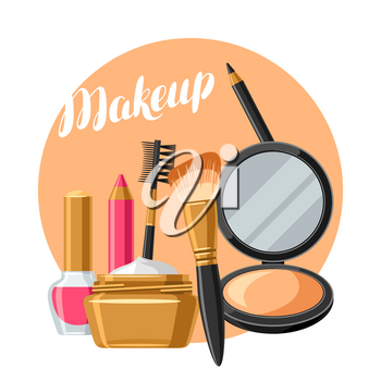 Cosmetics for skincare and makeup. Background for catalog or advertising.
