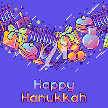 Happy Hanukkah celebration seamless pattern with holiday objects.