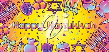 Happy Hanukkah celebration banner with holiday objects.