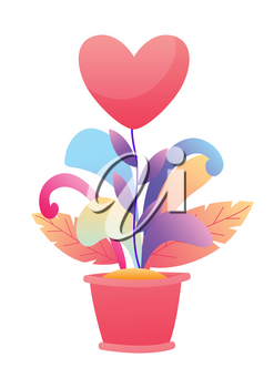 Happy Valentine Day greeting card. Background with flower heart in pot.