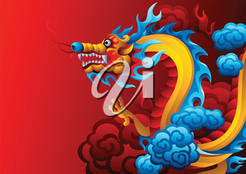 Background with Chinese dragon. Traditional China symbol. Asian mythological color animal.
