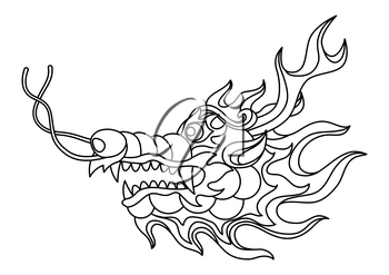 Illustration of Chinese dragon head. Coloring page for printing and drawing. Traditional China symbol. Asian mythological black animal.