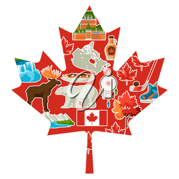 Canada background design. Canadian traditional symbols and attractions.