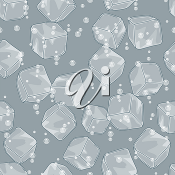 Ice cubes and soda bubbles seamless pattern. Stylized illustration water, cocktails or fizzy drinks.