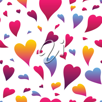 Happy Valentine Day seamless pattern. Colored hearts shape. Love romantic background. weeding design.