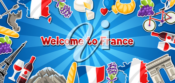 France banner design. French traditional sticker symbols and objects.