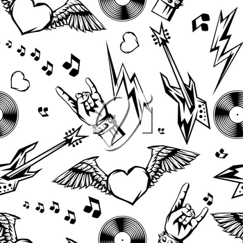 Rock and roll music seamless pattern. Rock festival ornament. Vintage background with musical items.