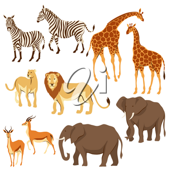Set of African savanna animals. Stylized illustration.