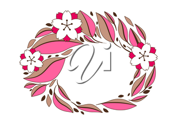 Background with sakura or cherry blossom. Floral japanese ornament of blooming flowers and leaves.