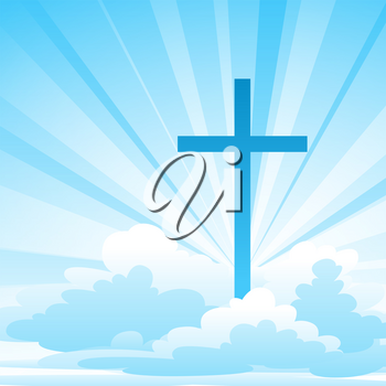 Easter illustration. Greeting card with cross and clouds. Religious symbol of faith.