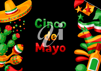 Mexican Cinco de Mayo greeting card. National holiday items.
