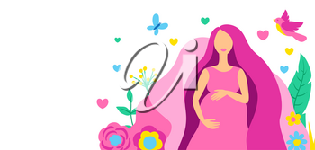 Happy pregnancy. Pretty pregnant woman. Baby shower invitation. Child waiting illustration.