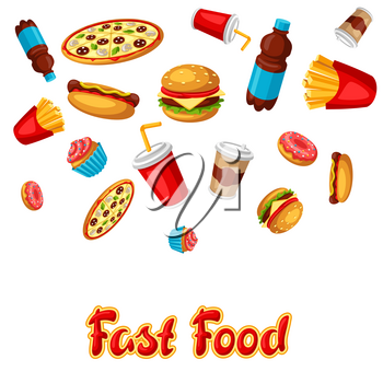 Background with fast food meal. Tasty fastfood lunch products. Design for menu or advertising.