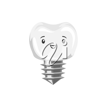 Illustration of ssmiling tooth implant. Children dentistry happy character. Kawaii facial expression.