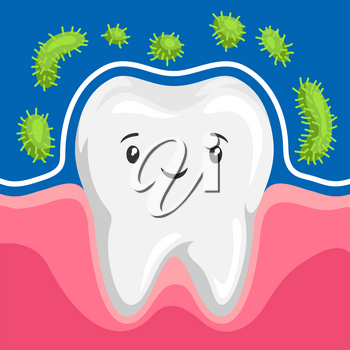 Illustration of tooth is protected from bacteria. Children dentistry sad character. Kawaii facial expression.