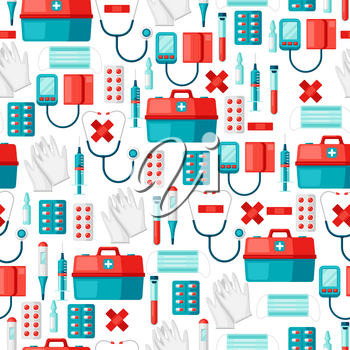 First aid kit equipment. seamless pattern. Medical instruments for emergency assistance.