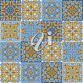 Portuguese azulejo ceramic tile pattern. Mediterranean traditional ornament. Italian pottery or spanish majolica. Baroque damask background with vintage scroll leaves.