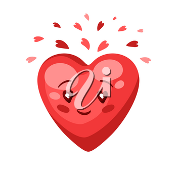 Illustration of cute heart. Celebrating Valentine Day. Symbol of lovers.
