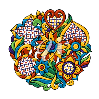 Background with mexican talavera pattern. Decoration with ornamental flowers. Traditional tile decorative objects. Ethnic folk ornament.