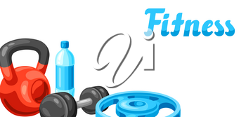 Background with fitness equipment. Sport bodybuilding items illustration. Healthy lifestyle concept.