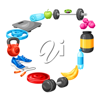 Frame with fitness equipment. Sport bodybuilding items illustration. Healthy lifestyle concept.