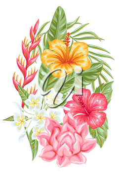 Decorative element with tropical flowers and leaves. Exotic foliage, palms and plants.