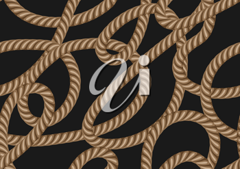 Seamless pattern with marine rope. Nautical string decorative background.