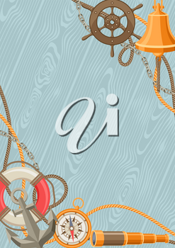 Nautical background with sailing items, ropes and chains. Marine decorative card.